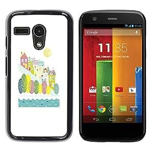 Be Good Phone Accessory // Dura Cáscara cubierta Protectora Caso Carcasa Funda de Protección para Motorola Moto G 1 1ST Gen I X1032 // City River Fall Autumn Kids Children White