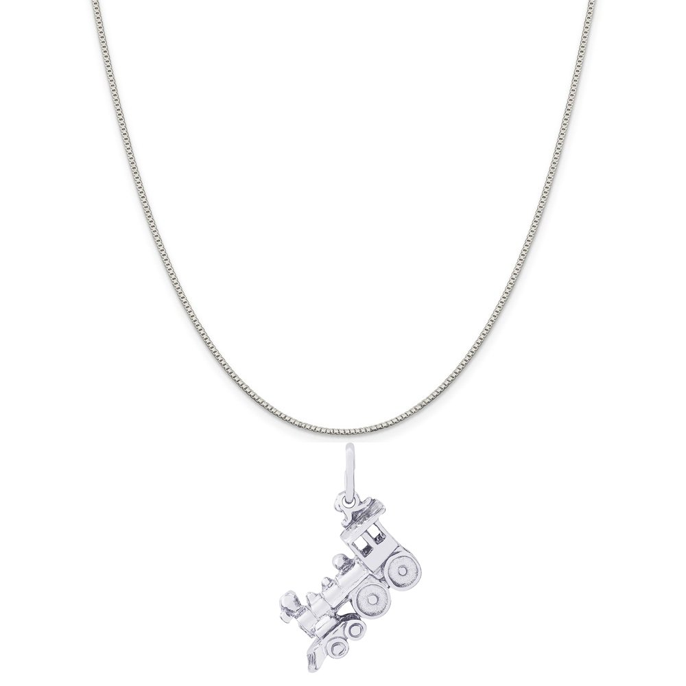 Rembrandt Charms Sterling Silver Train Engine Charm on a 16 Box or Curb Chain Necklace 18 or 20 inch Rope