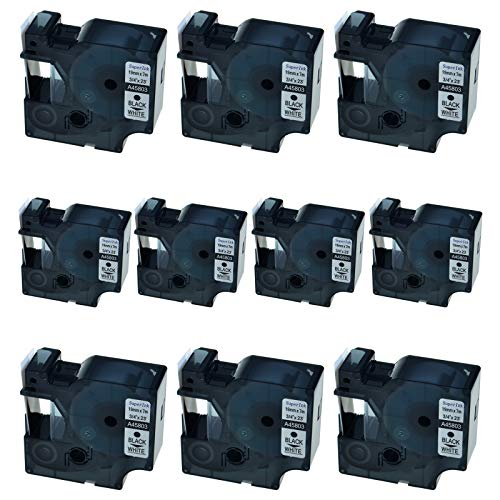 - SuperInk 10 Pack Compatible for DYMO D1 45803 Black on White Label Tape LabelManager 300 350 350D 360D 400 420P 450 450D 500TS LabelPoint 300 350 Printer (19mm 7m)