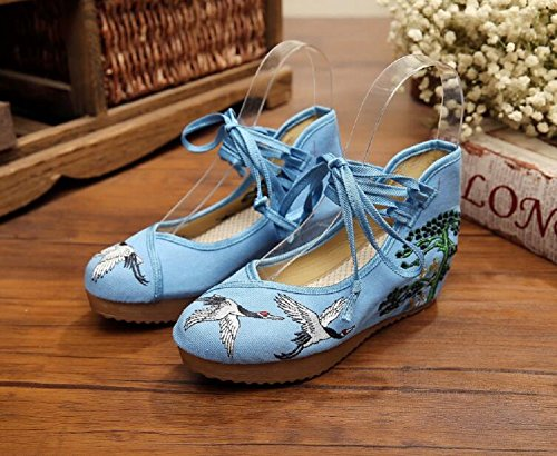 party casual scarpe ricamo donne gomma suola Strappy ragazza in Blue vintage Lazutom Hqvp5O