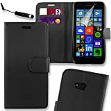 Connect Zone® Microsoft Lumia 650 Premium PU Leather Flip Wallet Case Cover Pouch + Screen Protector + Polishing Cloth And Touch Screen Stylus