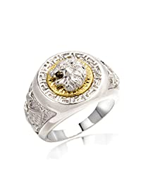 Men Rings,White Gold Plated Lion Animal Big Size Men's Jewelry Rings,Full Size7- 8-9-10-11-12