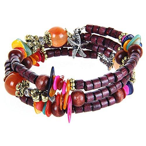 Wood Tibetan Elastic Prayer Beads Mala Wrap Bracelet with Shellfish Starfish Leaves Charm, Purple (Shell Wooden Bangles)
