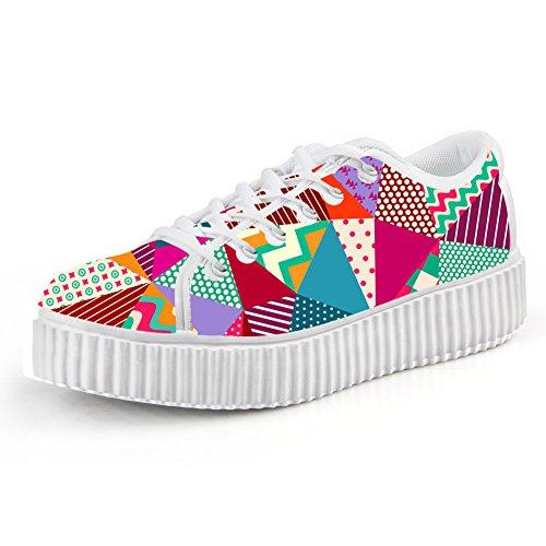 Bigcardesigns Blanka Blommor Kvinnor Låg Övre Plattformen Sneaker Spets-up Promenadsko Multicolour6