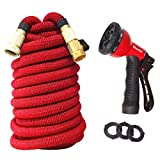 "All New Version 75ft Garden Hose Red High Density Weaving Cover Wear-Resistant Double Rubber Core 3-time Expandable 3/4"" Solid Brass Fittings with 8-Way Spraying Sprinklers Nozzle"