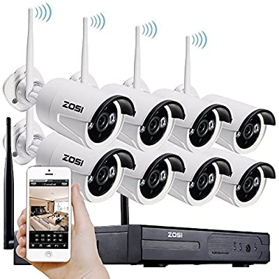 ZOSI 720p HD 1.0 Megapixel Wireless Outdoor Indoor Video Surveillance IP Network Security Camera System 8CH NVR NO Hard Drive ,IR Night Vision, Motion Detection, Remote Access