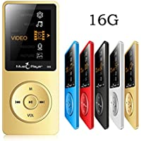 HONGYU® 2016 New Ultrathin Built-in Speaker MP3 MP4 Music Player with 16GB storage and 1.8 Inch Screen / FM / e-book / Voice recorder / Alarm clock / Calendar multifunctional Media Player (Gold)