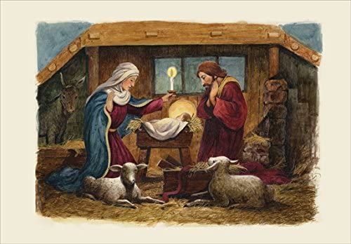 HANDMADE RELIGIOUS CHRISTMAS CARD WITH A NATIVITY SCENE IN WHITE /& BLUE DESIGN