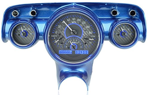 Center Dash Clock - Dakota Digital 57 Chevy Car Analog Dash Gauges System Carbon Fiber Blue VHX-57C-C-B