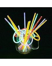 Vicloon Lichtstaafjes, 100 stuks, 5 kleurenmix, buiglichten met connector, glowstick, geschikt voor kinderverjaardagsfeesten, disco, verschillende festivals feesten