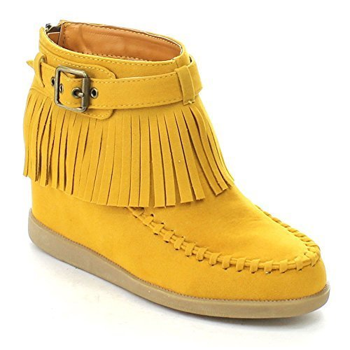 BAMBOO TOBERY-03 Women's Moccasin Fringe Hidden Wedge Back Zipper Ankle Booties, Color:MUSTARD, - Womens Bamboo Boots