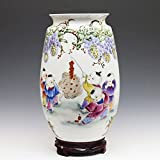 Decorative Chinese Porcelain Vase Flower Vase - Handmade and Hand Painted Children Playing Pattern (8 × 8 × 17.5 Inches, multicolor)