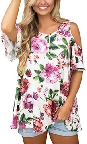 Annflat Women's Floral Print Cut Out Shoulder Short Sleeve T Shirt Blouse(9 Color,S-XXL)