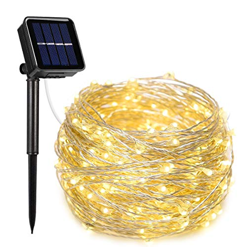 AOYOO Solar String Lights, Approved 33ft with 100 LEDs Solar Powered Starry Lights, 8 Modes Copper Wire Lights Waterproof IP65 Outdoor String Lights for Christams Decoration, Halloween, Birthday, Wedd