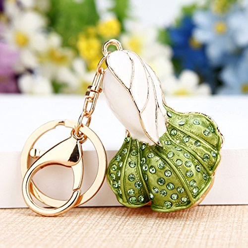 Korea Creative Gifts Cute Rhinestone Lucky Cabbage car Keychain Handbag Pendant Key Chain Crystal Jewelry,Green