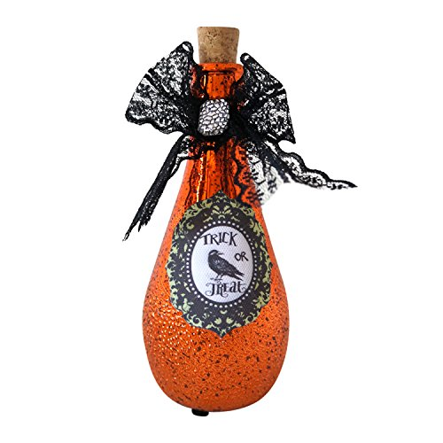 Color-Changing Lighted Mercury Glass Witchs Potion Bottle Halloween Decoration (Halloween Witch Potions)