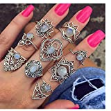 HUAMING 9pcs Women Bohemian Rings Knuckle Rings Set Vintage Gemstone Fashion White Opal Silver Stack Above Band Rings Multi-Element Set Ethnic Style (Silver)