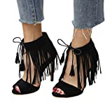 vermers Clearance Fashion Women Buckle Strap Tassel Shoes Ladies Ankle High Heels Party Singel Shoes(US:5.5, Black)