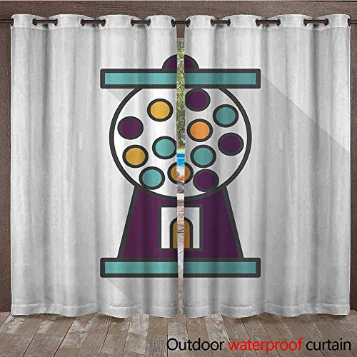 RenteriaDecor Home Patio Outdoor Curtain Gum Ball Machine Flat icon with Long Shadow eps W108 x L84 ()