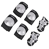 Bosoner Kids/Youth Rollerblade Roller Skates Cycling Knee Pads Elbow Pads (Silver Black, Medium(6-15 years))