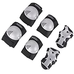 Bosoner 6 pcs Child Protective Gear Set Cycling Knee Pads and Elbow Pads with Wrist Guards Perfect for Skateboard Skateboarding, Roller Rollerblade, Bicycle Ride Bike Cycling, BMX bike, Inline roller, Kick scooter, and any other Outdoor activ...