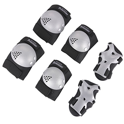 - BOSONER Kids/Youth Rollerblade Roller Skates Cycling Knee Pads Elbow Pads (Silver Black, Medium(6-15 Years))