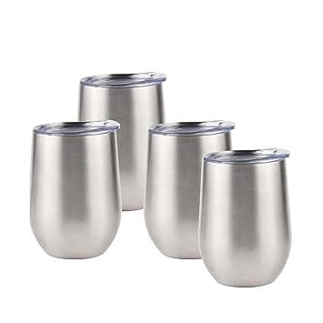 Sivaphe Tazas Termica de café Viajes Camping Copas de Vino Tinto Acero Inoxidable Aislado mug Doble Pared con Tapas Plata (12OZ, 350ML) -Set de 4 ...
