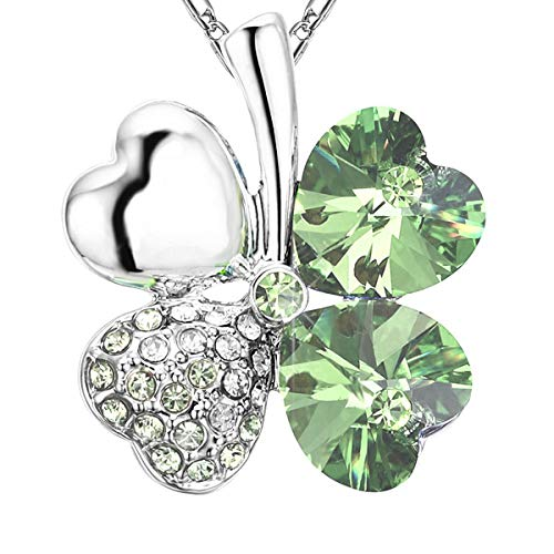 NEVERMORE Shimmering Shamrock Green Four Leaf Clover Crystal Pendant Necklace with Silver Chain for St Patricks Day