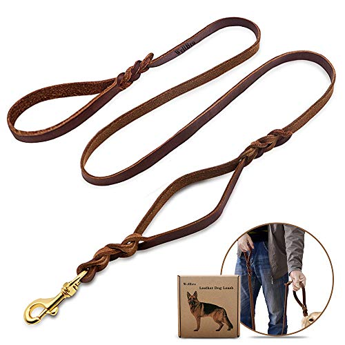 Wellbro Double handle Leather Dog Leash, 6 Foot Braided Dog Training Leash, Soft and Deluxe Pet Walking Lead with Copper Hook, For Safe Control of Medium/Large Dogs, - Leather Dog Traffic Lead