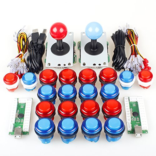 EG STARTS Both 2 Player Arcade DIY Kits Parts 2 Joystick + 20 LED Illuminated Push Buttons PC Games Mame