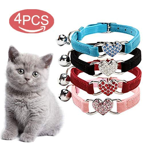 Coogel Lovely Kitten Collar, Cat Collar with Bell and ...