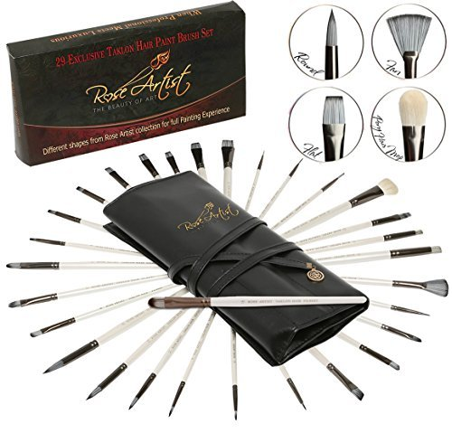 ROSE ARTIST Ultimate Paintbrush Set: Superior Quality 29-Pack Art Paint Brushes Kit/ Sturdy Taklon Hair Brushes For Acrylic, Oil, Watercolor/ Premium Artist's Set In Deluxe Rollup Case/ Excellent Gift