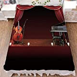 iPrint Bed Skirt Cover 3D Print,Orchestra Symphony Theme Stage Curtains Piano Cello,Best Modern Style Bed Skirt for Men and Women by 70.9''x78.7''