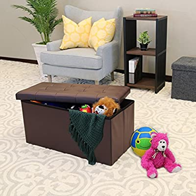 Seville Classics Foldable Storage Cube/Ottoman, Charcoal Grey from Seville Classics