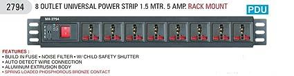 Mx 8 Socket Universal Wall Mount, Rack Mount Power Strip (Blackish Grey)