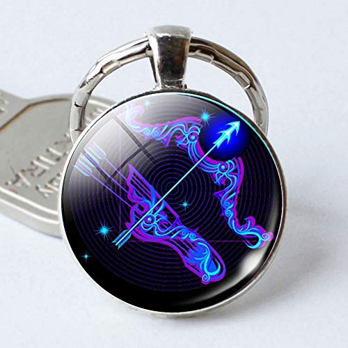 Zavarea As a Gift Twelve Constellations Time-Like Shiny Gemstone Metal Car Key Chain Keychain (Taurus)