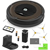 iRobot Roomba 890 Vacuum Cleaning Robot + Dual Mode Virtual Wall Barrier (Batteries) + 3 Extra Side Brushes + Extra High Efficiency Filter + More