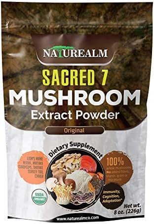 Sacred 7 Mushroom Extract Powder - USDA Organic - Lion's Mane, Reishi, Cordyceps, Maitake, Shiitake, Turkey Tail, Chaga - 226g -Supplement - Add to Coffee/Tea/Smoothies - Whole Mushrooms - No fillers