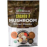 SACRED 7 Mushroom Extract Powder - USDA Organic - Lion's Mane, Reishi, Cordyceps, Maitake, Shiitake, Turkey Tail, Chaga - Immunity Supplement - Add to Coffee & Tea - Real Mushrooms - No fillers - 226g
