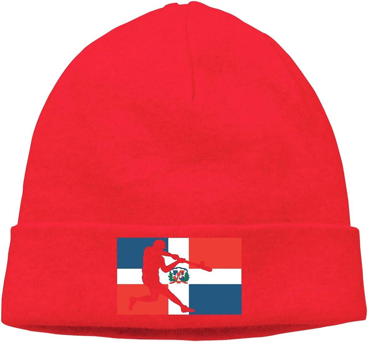 09/&JGJG Dominican Republic Baseball Flag Men and Women Fleece Beanie Hat Winter Warm Knit Beanie Cap