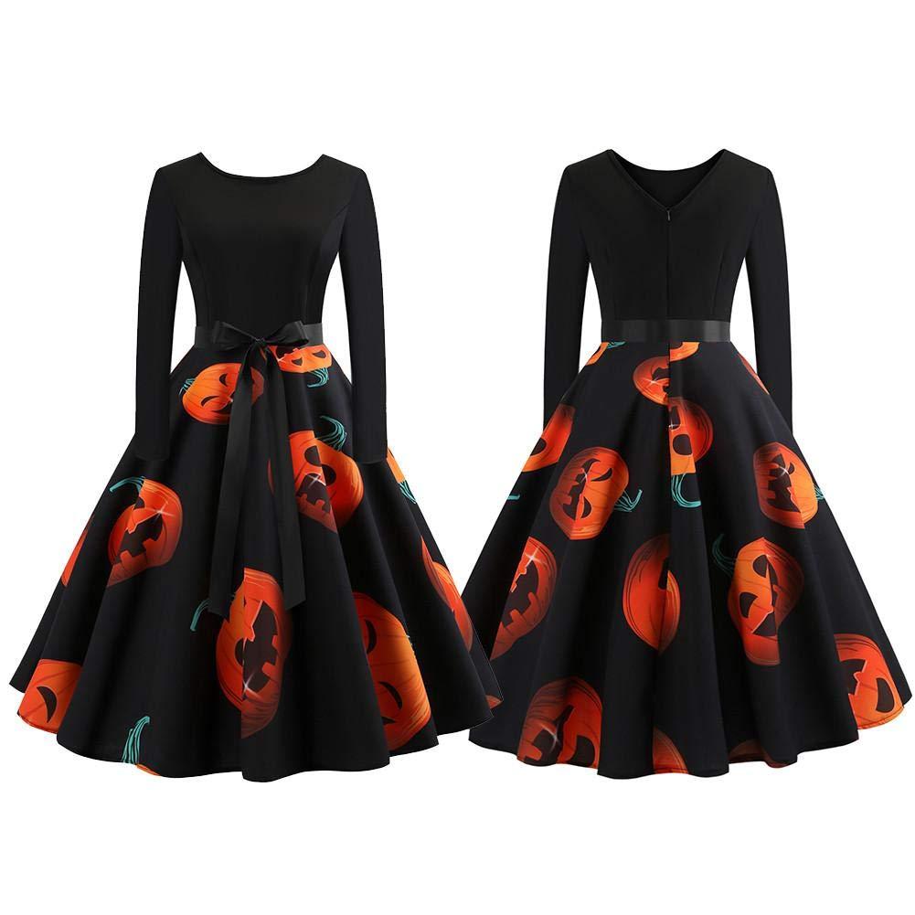 Là Vestmon Abiti di Halloween per le donne, vendita calda Halloween Pumpkin testa stampa vintage abito manica lunga flare BN00332