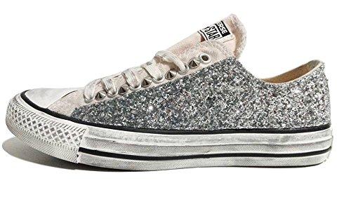 Converse all star ox basse glitter argento Sunset wash Parchment ( prodotto artigianale )