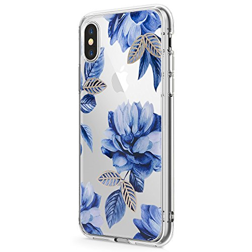 (Case for iPhone Xs Max/iPhone XR Phone Case Silicone Gel Rubber Clear Flower TPU Bumper Shockproof Protective Cover (2, Apple iPhone Xs Max))