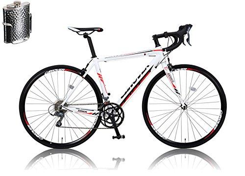 CANOVER(カノーバー)ロードバイク 700C シマノ16段変速 CAR-011(ZENOS) ステンレスボトル&ケージセット 軽量クランク アルミフレーム フロントLEDライト付 [メーカー保証1年] B01A553VRI ホワイト ホワイト
