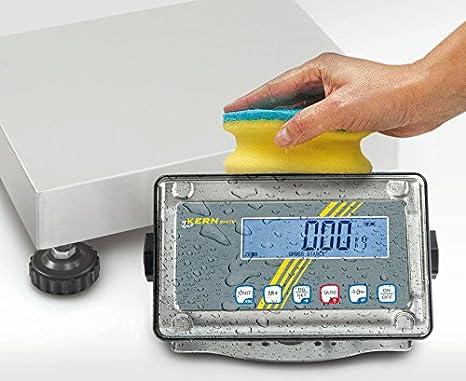 Balanza de plataforma con protección contra el polvo y las salpicaduras [Kern SFE 10K-3NM] Campo de pesaje [Max]: 15 kg, Lectura [d]: 5 g, Plato de pesaje: ...