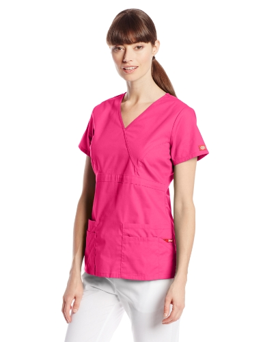 Dickies Women's Eds Signature Scrubs Jr. Fit Mock Wrap Top, Hot Pink, X-Large