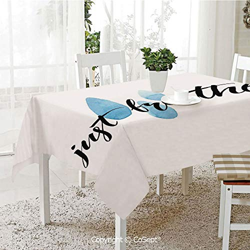 SCOXIXI Polyester Tablecloth,Just Breathe Inspirational Quote Calligraphy Raindrop Spots Life Positivity Theme,Fashionable Table Cover Perfect for Home or Restaurants(60.23
