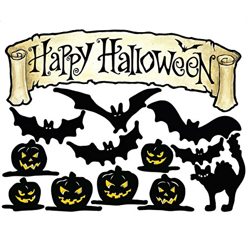 Happy Halloween Mural (Wallies Wall Decals, Happy Halloween Vinyl Wall)