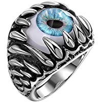Siam panva Fashion Gothic Evil Eye Ball Design Charm Ring Punk Finger Jewelry Gift Innovate ( Blue) (11)