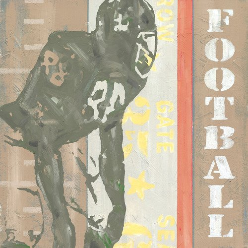 Football Vintage Daisy Canvas (Oopsy Daisy Game Ticket Football by Roger Groth Canvas Wall Art, 30 by 30-Inch)